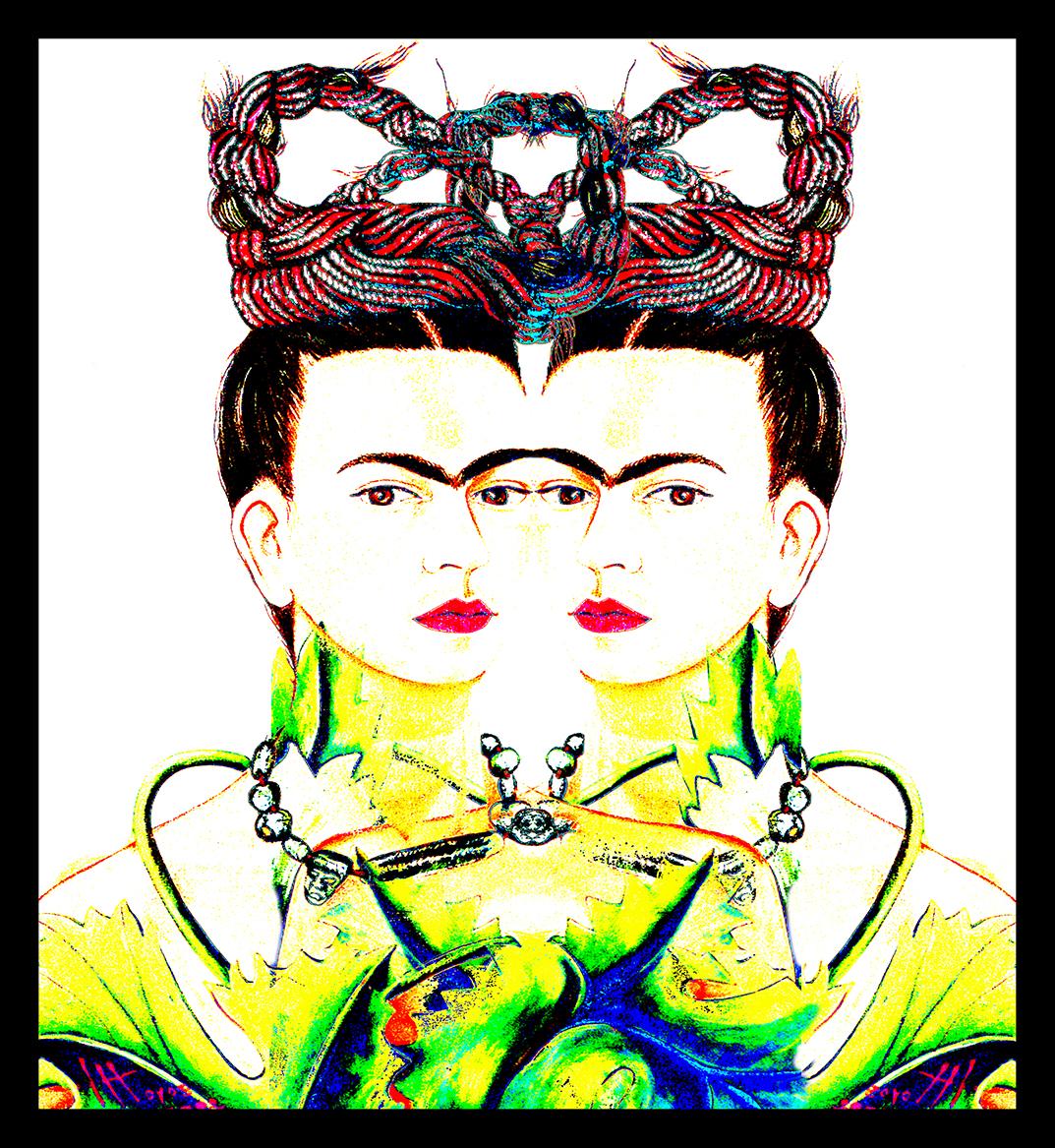 Auf wenige Farbwerte reduziertes Bild einer jungen Frau im Halbprofil, in der Bildmitte gespiegelt, vier Augen sehen den Betrachter an.